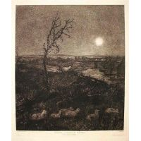 Strayed - A moonlight pastoral - J. Park 1878